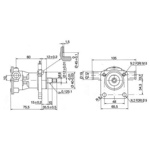 Pompe eau de mer adaptable pour moteur Volvo    MD2010A/ MD2020A. Référence Volvo 3580064    Jabsco 29350-1001 / 29350-1101 Volvo MD2010A / MD2020A