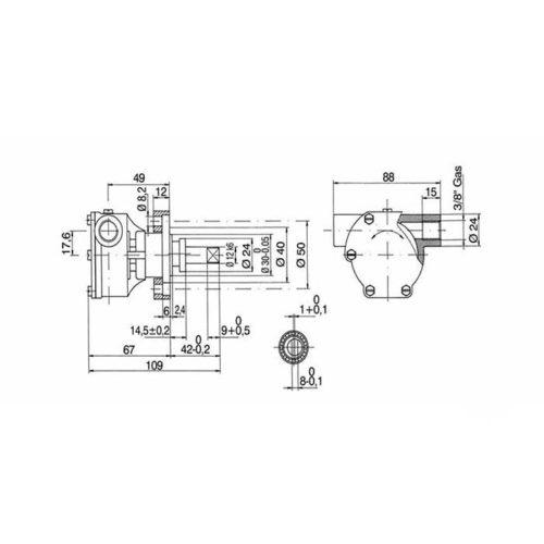 Pompe eau de mer adaptable pour moteurs Vetus:    M3.10 / M4.14 / M2.05 ancienne version    Références de la pompe jabsco 29480-2031C / Johnson 10-35240-1 Vetus M3.10 / M4.14 / M2.05 ancienne version