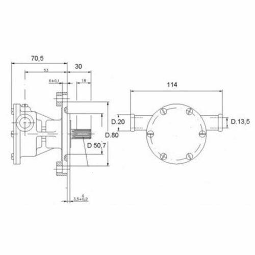 Pompe eau de mer adaptable pour moteurs Vetus:    M2.06 / M2.C5 / M2.D5 / M2.04 / M3.09 / M3.28 / M3.29    Pompe STM6109 / STM7630 moteurs M4.15 / 4.17 Vetus M2.06 / M2.C5 / M2.D5 / M2.04 / M3.09 / M3.28 / M3.29 / M4.11 / M4.15 / 4.17