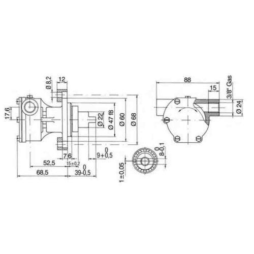 Pompe eau de mer adaptable STM8050 pour moteurs Vetus M3.10 / M4.14 / M4-35    Jabsco 29470-2131 / Johnson 10-35161-1 Vetus M3.10 / M4.14 / M4-35