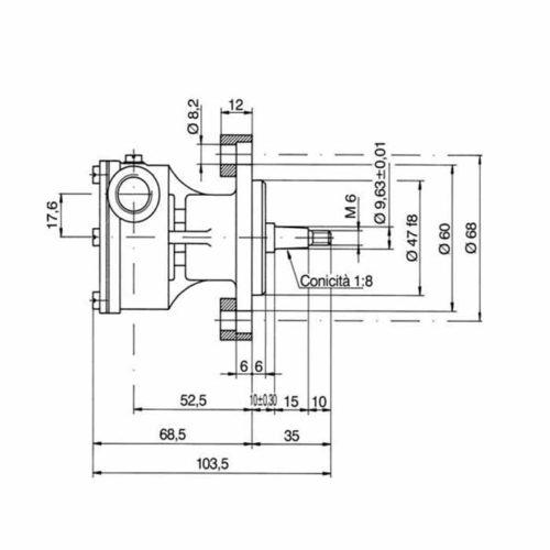 Pompe eau de mer adaptable pour moteurs FPT IVECO    4341 M60 / 4241 M41/ 4141 M48    Jabsco : 29470-2431 / Johnson : 10-35355-01 FPT IVECO 4341 M60 / 4241 M41 / 4141 M48