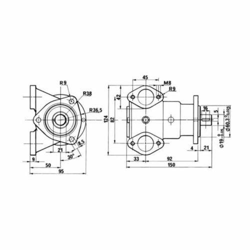 Pompe eau de mer adaptable pour moteurs Perkins 6.354 et 240TI    Référence pompe Perkins 2488275    Johnson 10-24014-1 / 10-24014-4 / 10-24183-1 Perkins 6.354 / 240TI