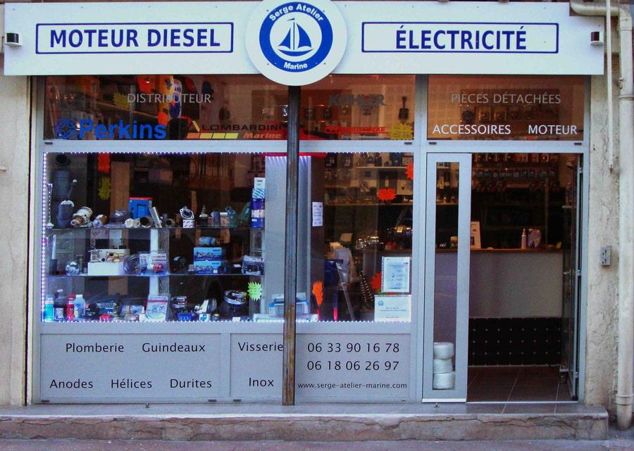 Le magasin Serge Atelier Marine, spécialisé en pompes eau de mer et piéces détachées pour moteurs marins.