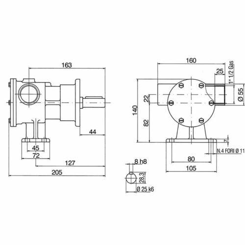 Pompe eau de mer adaptable pour moteurs Caterpillar 3208.    Jabsco 6400-1051    Johnson 10-13021-1        - SUR COMMANDE Caterpillar 3208
